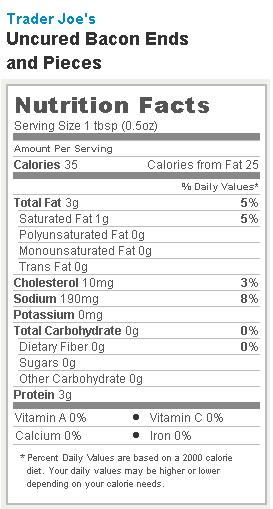 Trader Joe's Bacon Ends and Pieces - Nutrition Facts