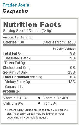 Trader Joe's Gazpacho - Nutrition Facts