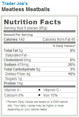 Trader Joe's Meatless Meatballs - Nutrition Facts