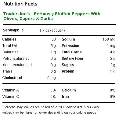 Trader Joe's Seriously Stuffed Peppers - Nutrition Facts