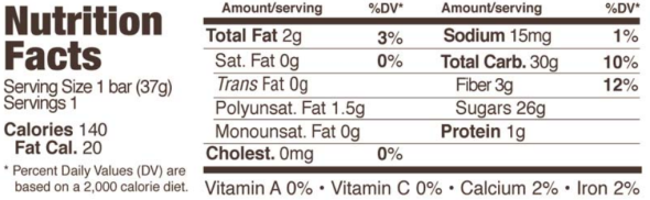 Trader Joe's Fruit Bar with Chia Seeds and Flax Seeds - Nutrition Facts