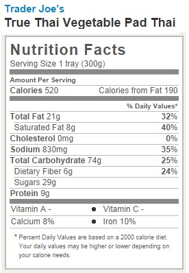 Trader Joe's Vegetable Pad Thai - Nutrition Facts