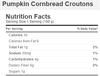Trader Joe's Pumpkin Cornbread Croutons - Nutrition Facts