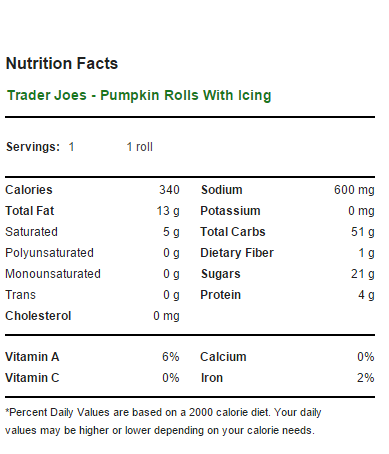 Trader Joe's Pumpkin Rolls - Nutrition Facts