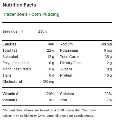 Trader Joe's Corn Pudding - Nutrition Facts