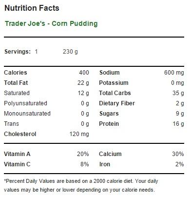 Trader Joe's Corn Pudding - Nutrition Facts