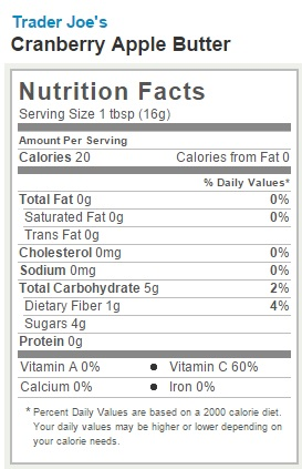 Trader Joe's Cranbery Apple Butter - Nutrition Facts