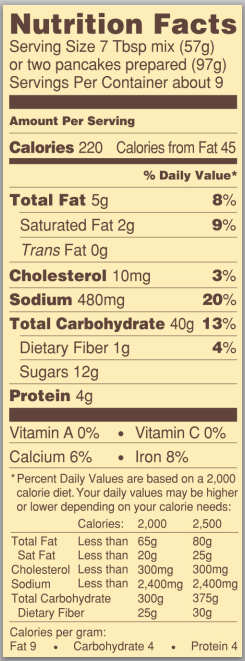 Trader Joe's Toasted Coconut Pancake Mix - Nutrition Facts