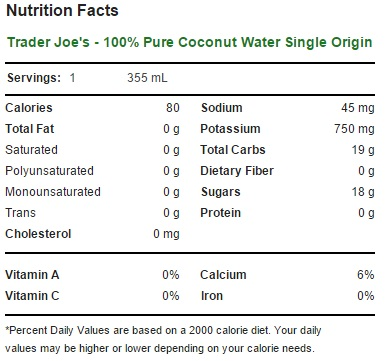Trader Joe's - 100% Pure Coconut Water Single Origin - Nutrition Facts