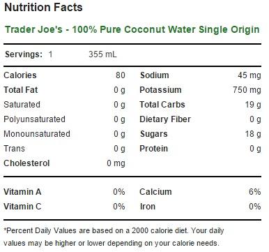 Trader Joe's - 100% Pure Coconut Water Single Origin - Nutrition Facts