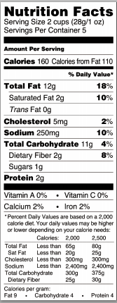 Trader Joe's Baconesque White Cheddar Popcorn - Nutrtion Facts