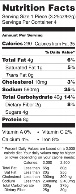 Trader Joe's Paneer Masala Naan - Nutrition Facts