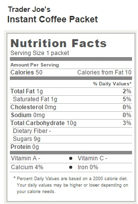 Trader Joe's Instant Coffee Packets - Nutritional Facts