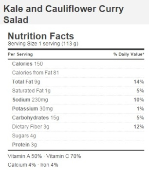 Trader Joe's Kale and Cauliflower Curry Salad - Nutrition Facts