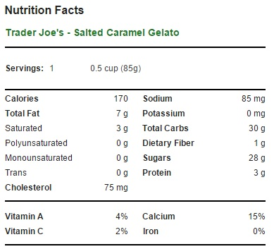 Trader Joe's Salted Caramel Gelato - Nutrition Facts