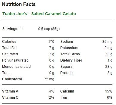 Trader Joe's Salted Caramel Gelato - Nutrition Facts