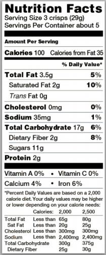Trader Joe's Brownie Crisps - Nutrition Facts