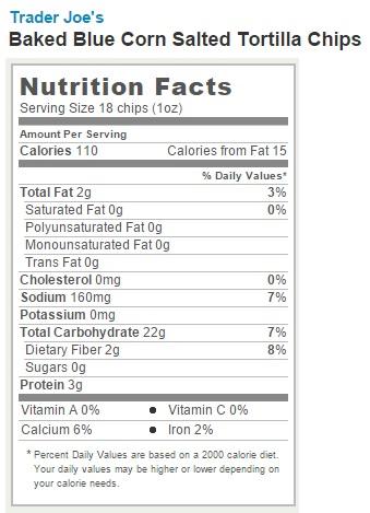 Trader Joe's Baked Blue Corn Tortilla Chips - Nutrition Facts