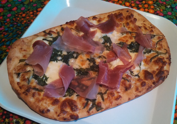 Trader Joes Burrata, Prosciutto and Arugula Flatbread Eating At