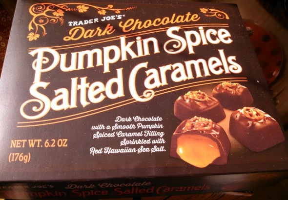 Trader Joe's Dark Chocolate Pumpkin-Spiced Salted Caramels Box