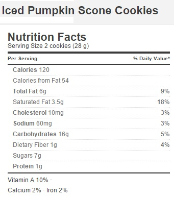 Trader Joe's Pumpkin Scone Cookies - Nutrition Facts