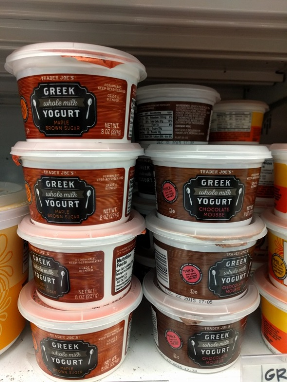 Trader Joe's Whole Milk Greek Yogurt - Maple Brown Sugar and Chocolate Mousse